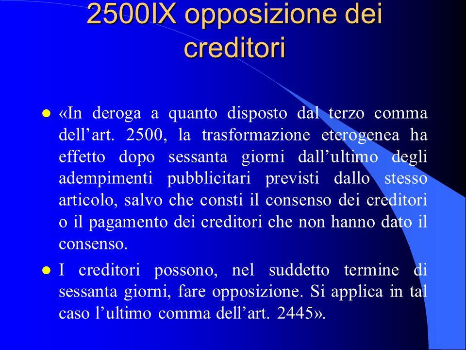 2500IX opposizione dei creditori