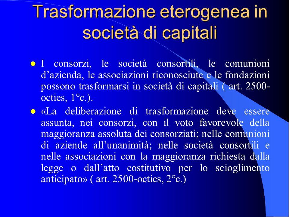 Trasformazione eterogenea in società di capitali