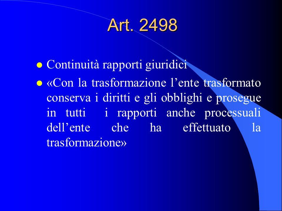 Art. 2498 Continuità rapporti giuridici