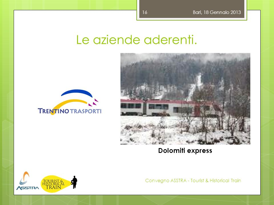Le aziende aderenti. Dolomiti express Bari, 18 Gennaio 2013
