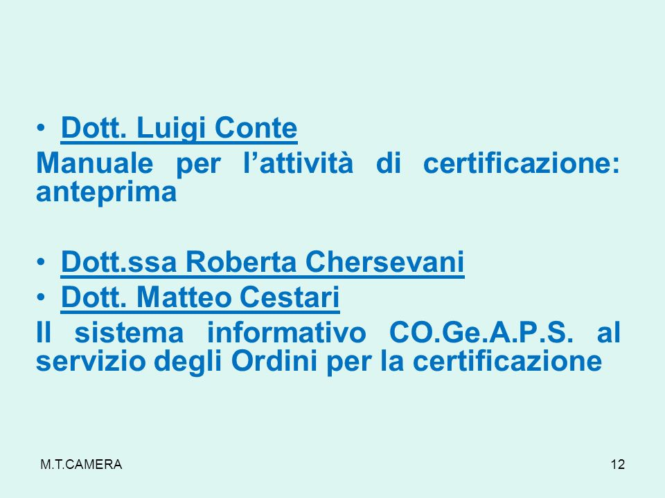 Manuale per l'attività di certificazione: anteprima