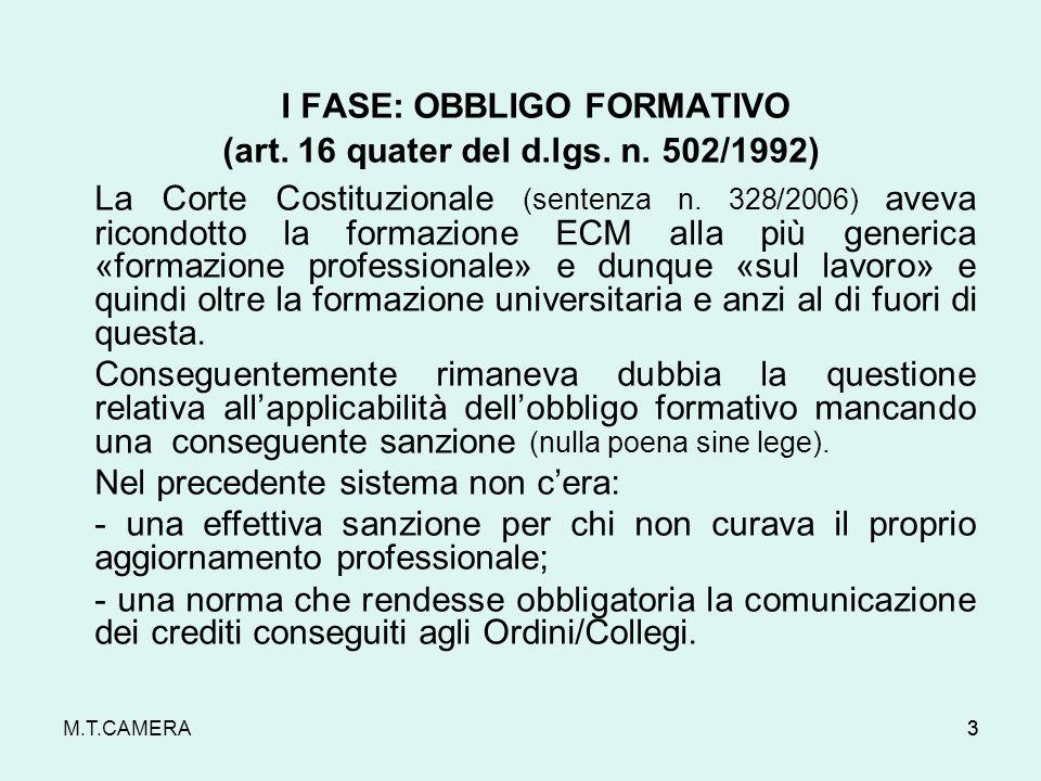 (art. 16 quater del d.lgs. n. 502/1992)