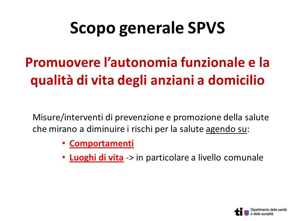 Scopo generale SPVS Promuovere l'autonomia funzionale e la qualità di vita degli anziani a domicilio.