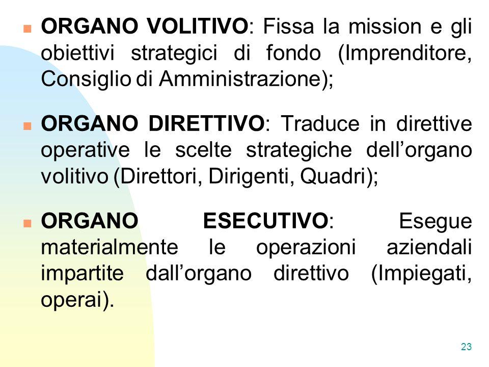 ORGANO VOLITIVO: Fissa la mission e gli obiettivi strategici di fondo (Imprenditore, Consiglio di Amministrazione);
