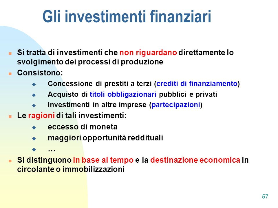 Gli investimenti finanziari