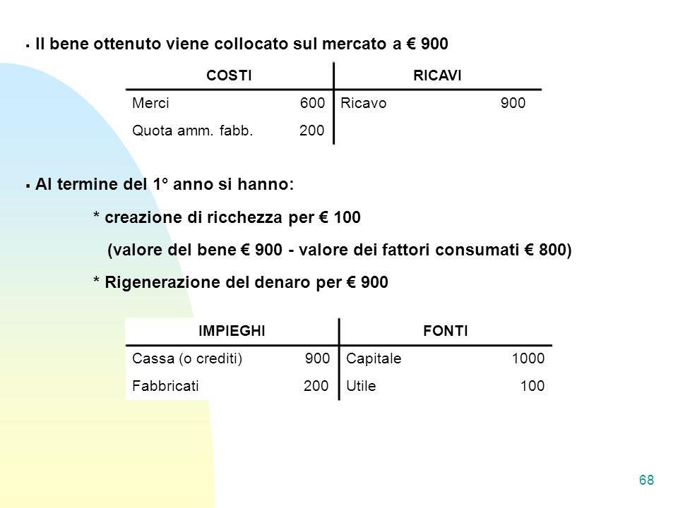 (valore del bene € 900 - valore dei fattori consumati € 800)