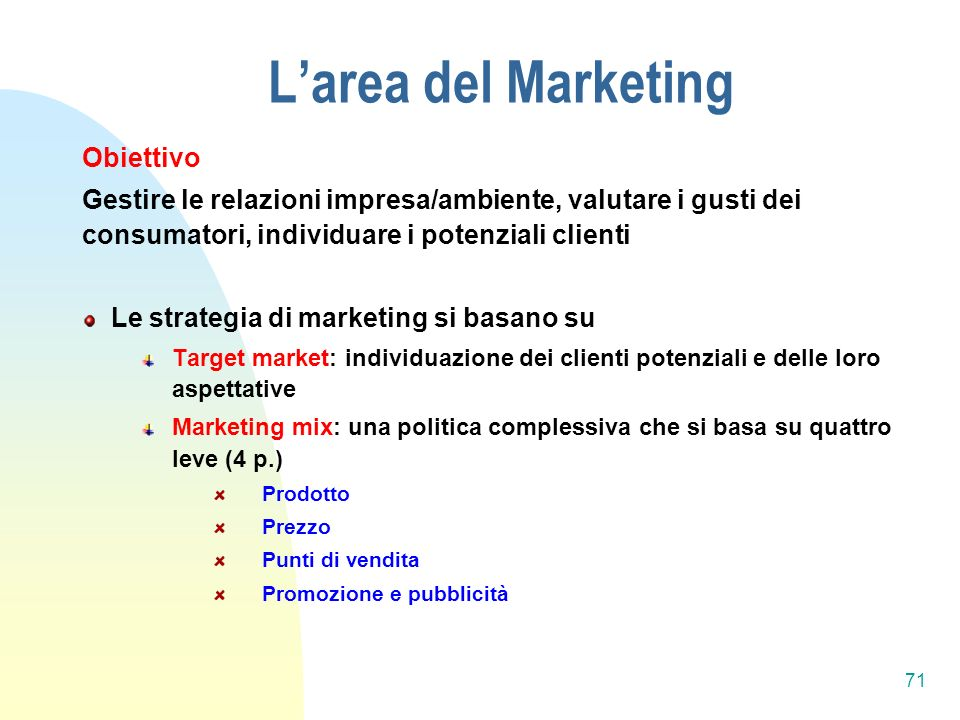 L'area del Marketing Obiettivo