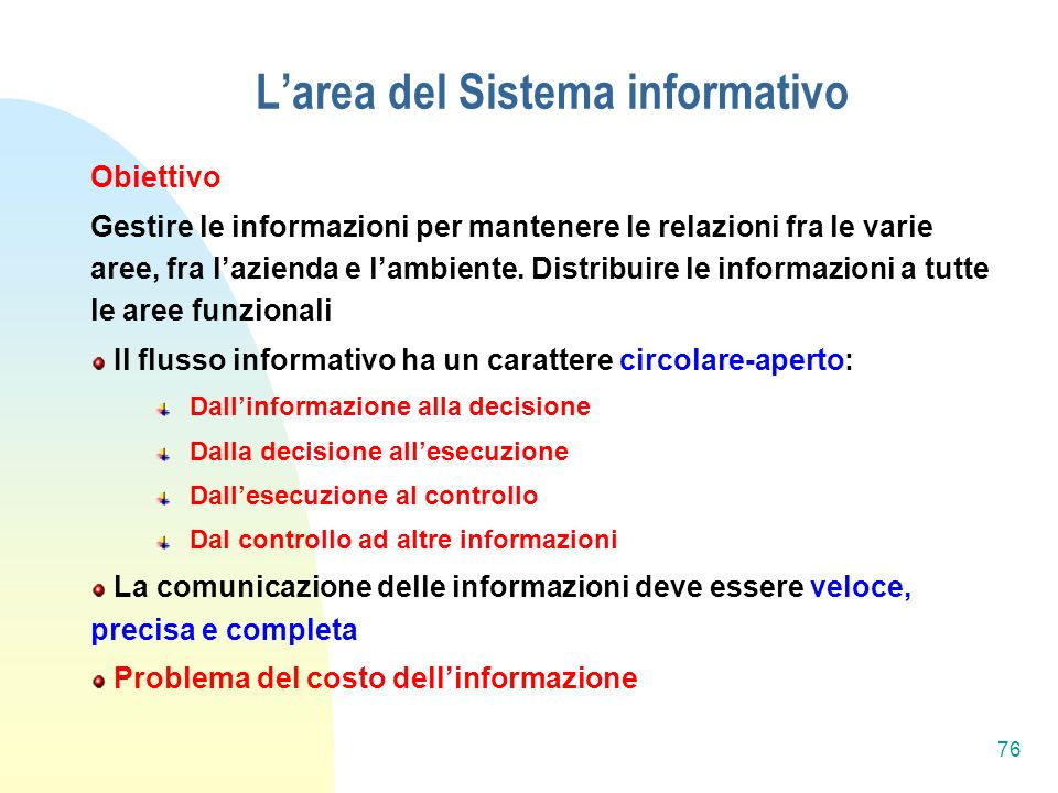 L'area del Sistema informativo