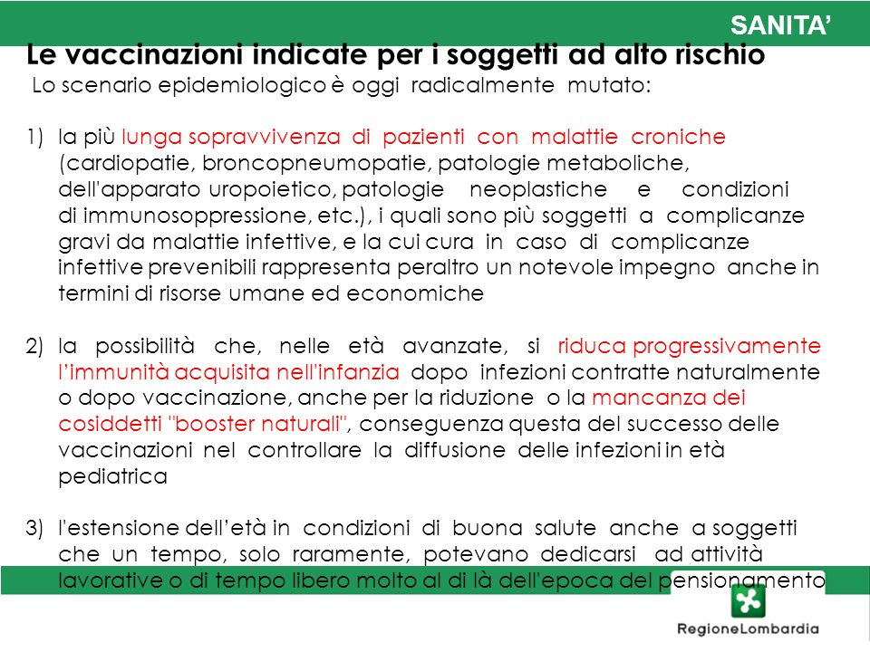 Le vaccinazioni indicate per i soggetti ad alto rischio
