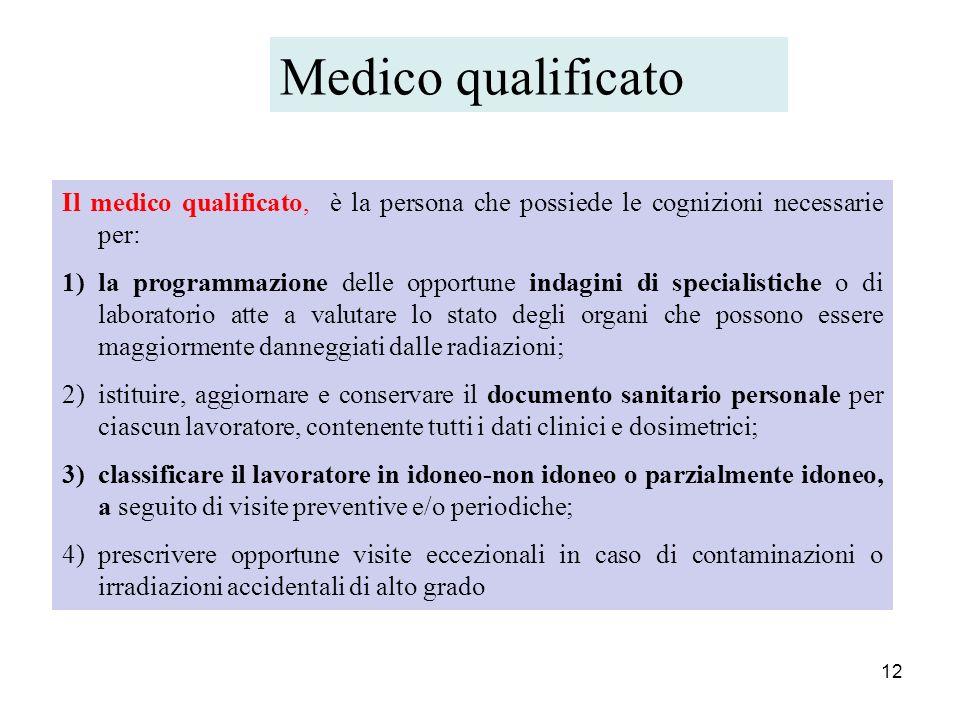 Medico qualificato Il medico qualificato, è la persona che possiede le cognizioni necessarie per: