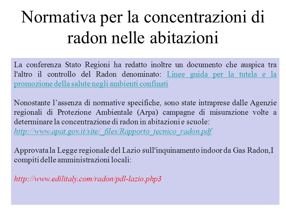 Normativa per la concentrazioni di radon nelle abitazioni