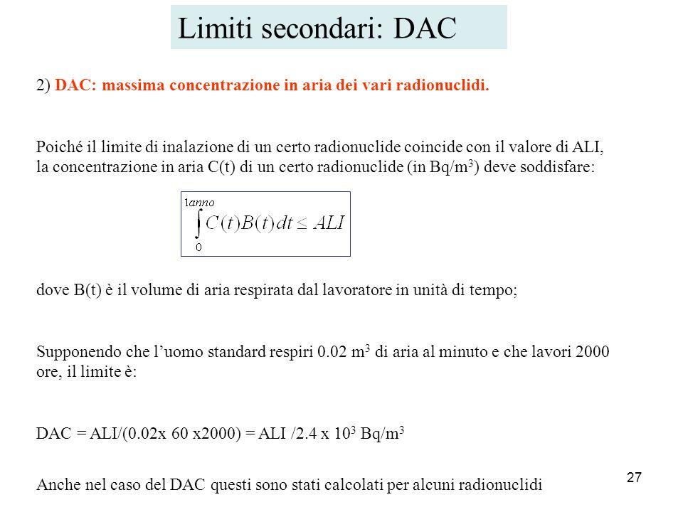 Limiti secondari: DAC 2) DAC: massima concentrazione in aria dei vari radionuclidi.