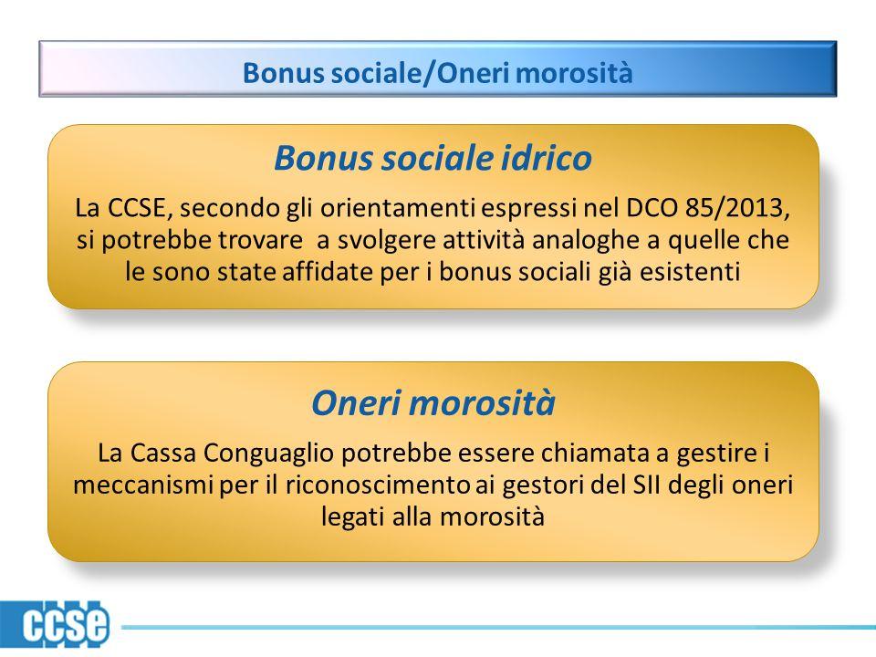 Bonus sociale/Oneri morosità