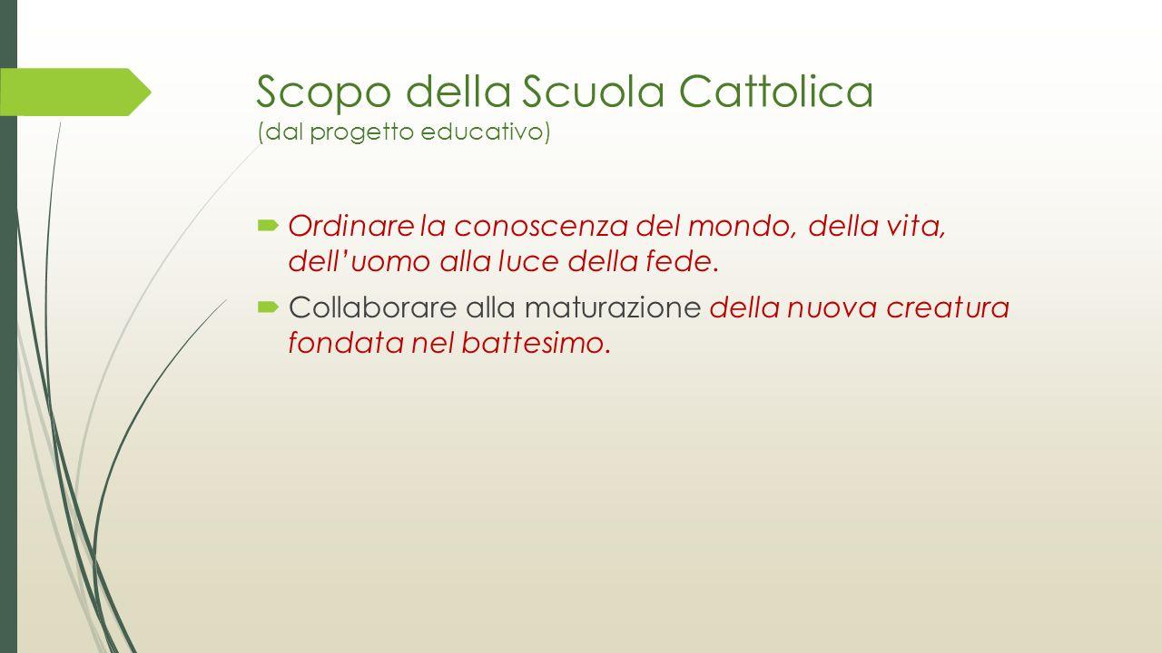 Scopo della Scuola Cattolica (dal progetto educativo)