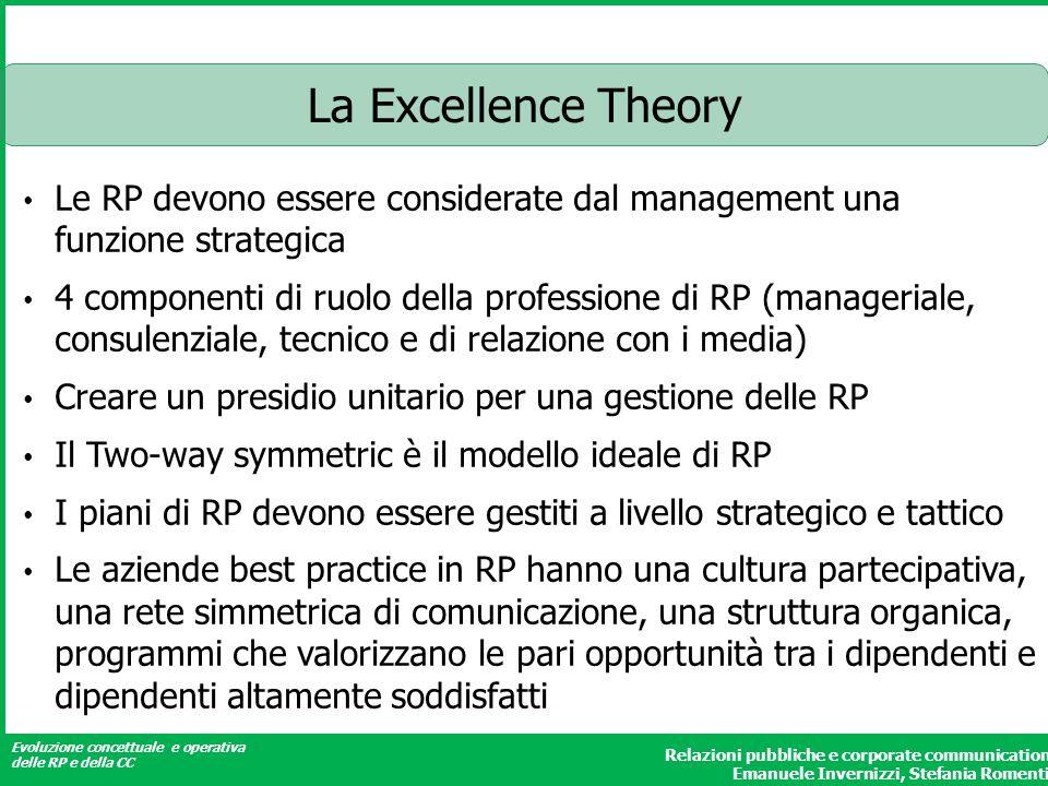 La Excellence Theory Le RP devono essere considerate dal management una funzione strategica.