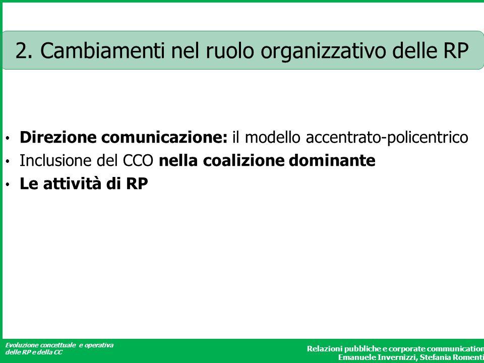 2. Cambiamenti nel ruolo organizzativo delle RP