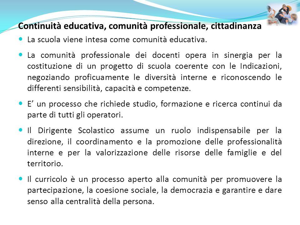 Continuità educativa, comunità professionale, cittadinanza