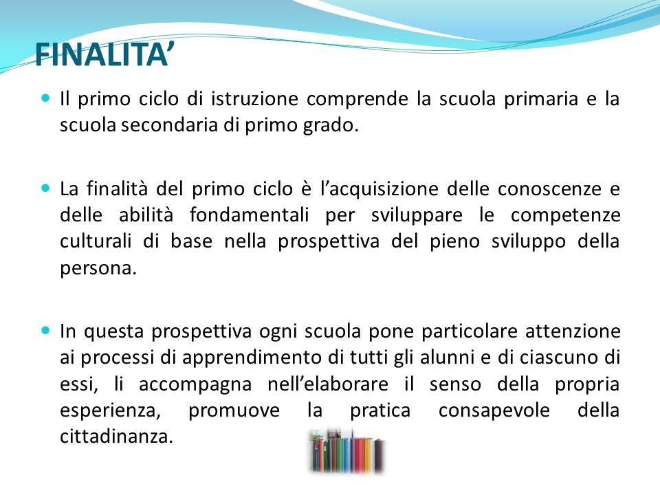 FINALITA' Il primo ciclo di istruzione comprende la scuola primaria e la scuola secondaria di primo grado.