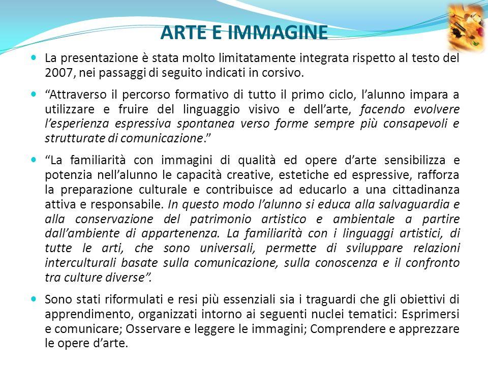ARTE E IMMAGINE La presentazione è stata molto limitatamente integrata rispetto al testo del 2007, nei passaggi di seguito indicati in corsivo.