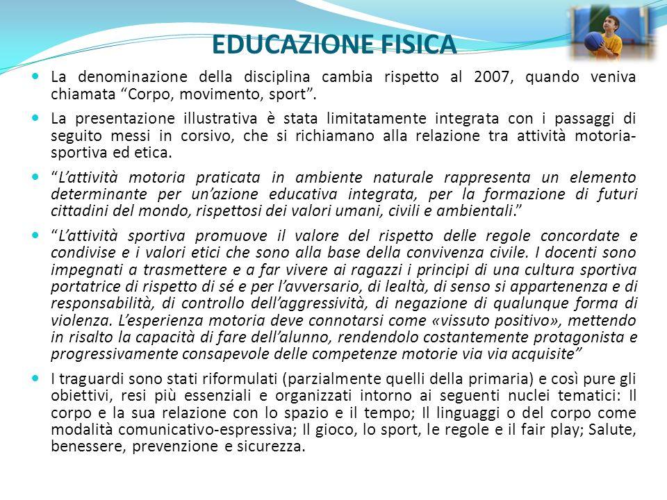 EDUCAZIONE FISICA La denominazione della disciplina cambia rispetto al 2007, quando veniva chiamata Corpo, movimento, sport .