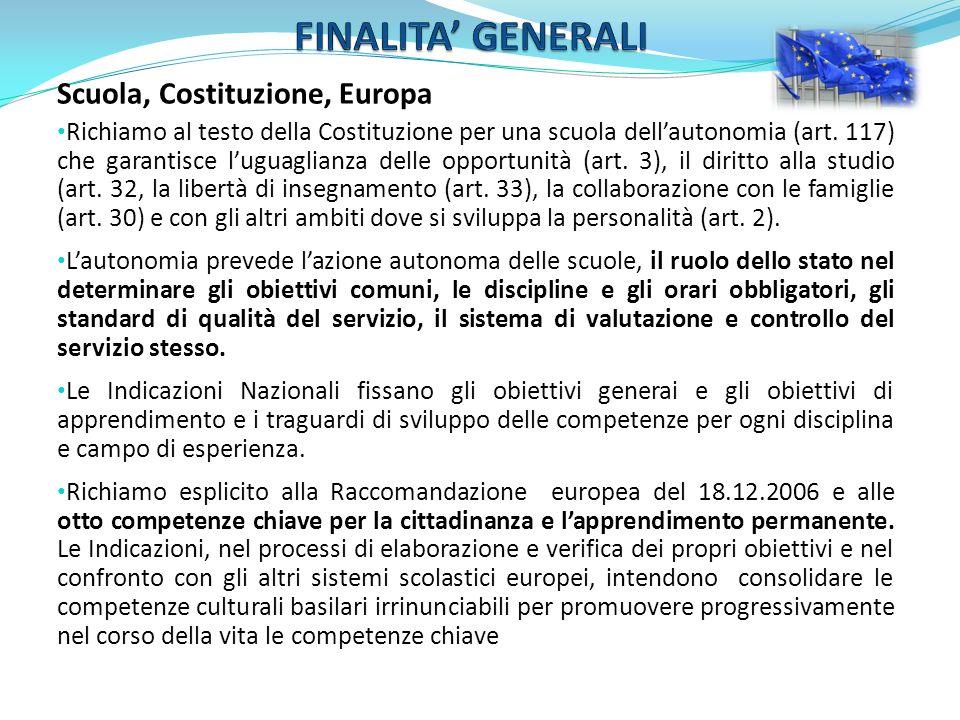 FINALITA' GENERALI Scuola, Costituzione, Europa