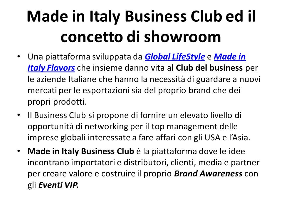 Made in Italy Business Club ed il concetto di showroom