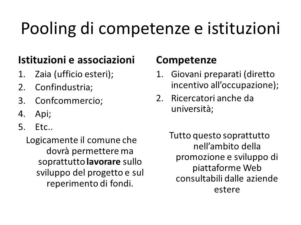 Pooling di competenze e istituzioni