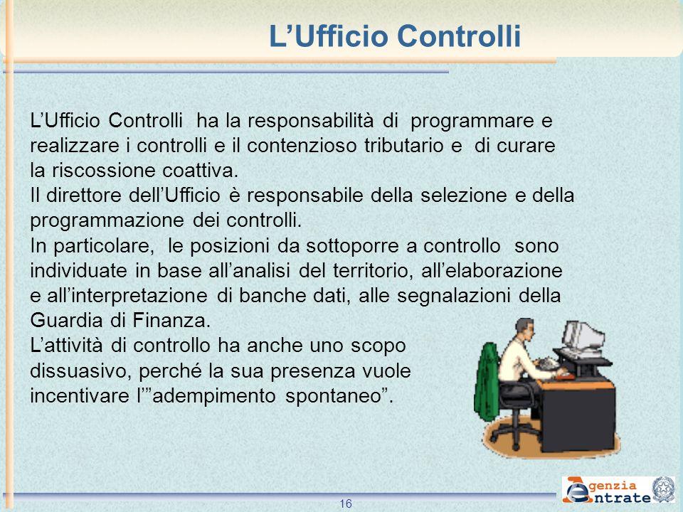 L'Ufficio Controlli L'Ufficio Controlli ha la responsabilità di programmare e. realizzare i controlli e il contenzioso tributario e di curare.
