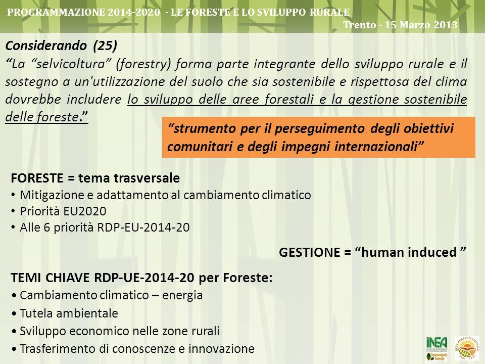 FORESTE = tema trasversale