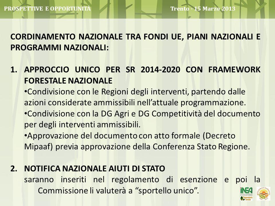 APPROCCIO UNICO PER SR 2014-2020 CON Framework forestale nazionale