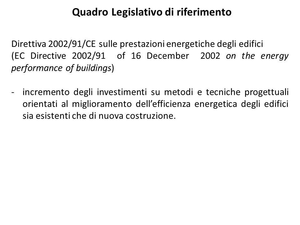 Quadro Legislativo di riferimento