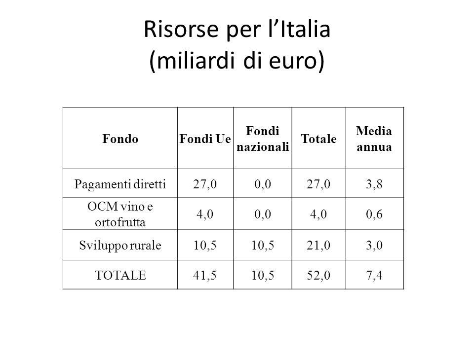 Risorse per l'Italia (miliardi di euro)