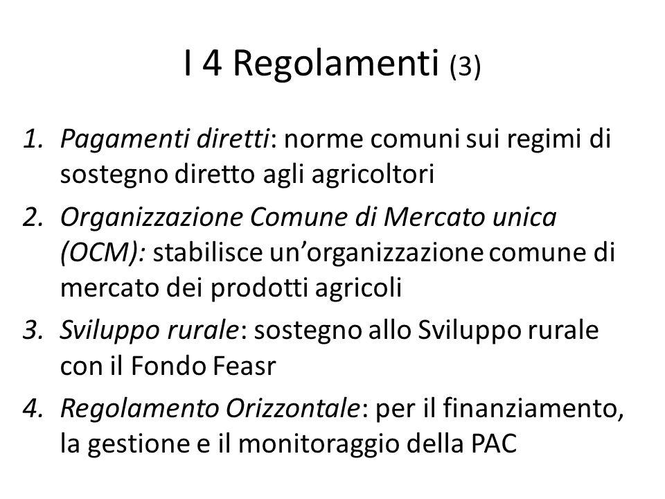 I 4 Regolamenti (3) Pagamenti diretti: norme comuni sui regimi di sostegno diretto agli agricoltori.