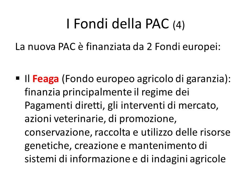 I Fondi della PAC (4) La nuova PAC è finanziata da 2 Fondi europei: