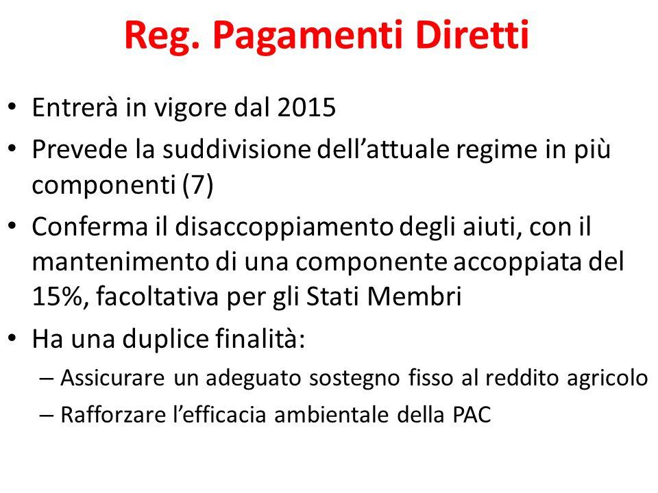 Reg. Pagamenti Diretti Entrerà in vigore dal 2015