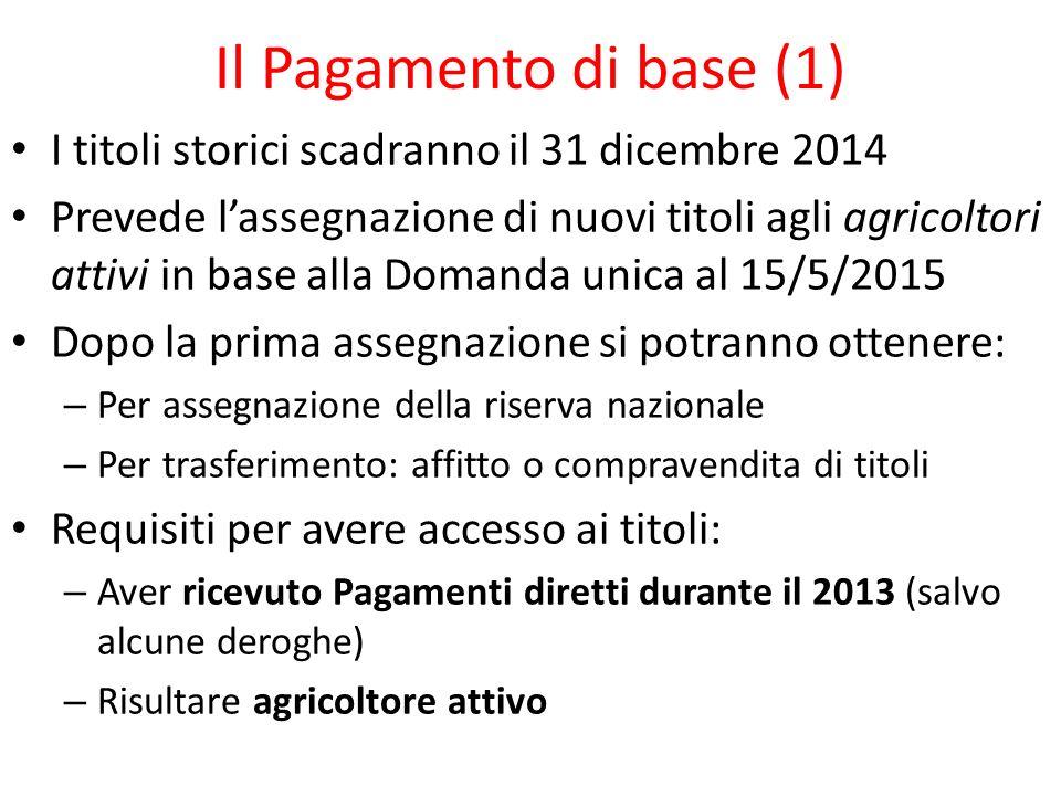 Il Pagamento di base (1) I titoli storici scadranno il 31 dicembre 2014.