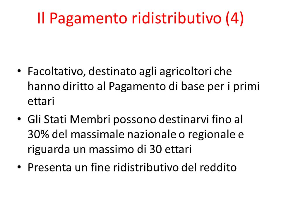 Il Pagamento ridistributivo (4)