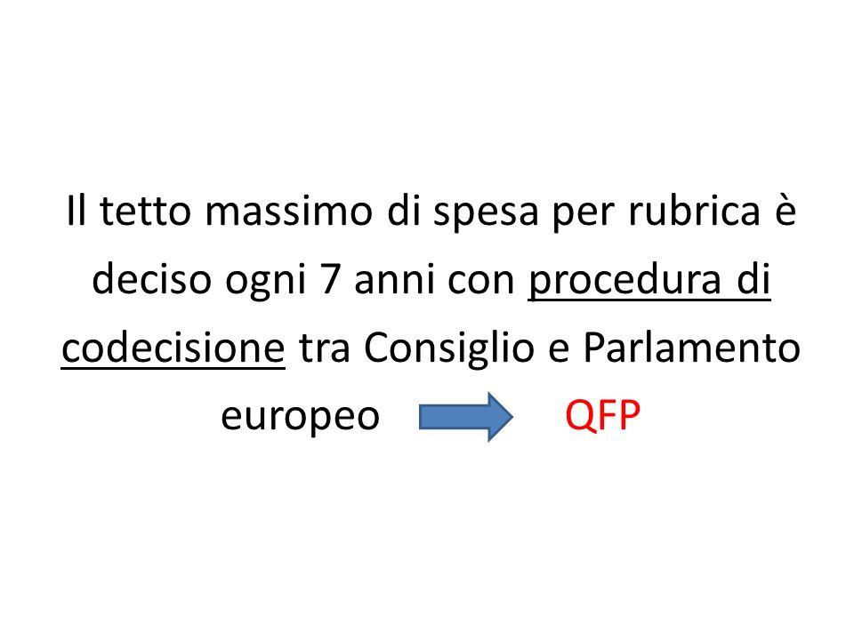 Il tetto massimo di spesa per rubrica è deciso ogni 7 anni con procedura di codecisione tra Consiglio e Parlamento europeo QFP