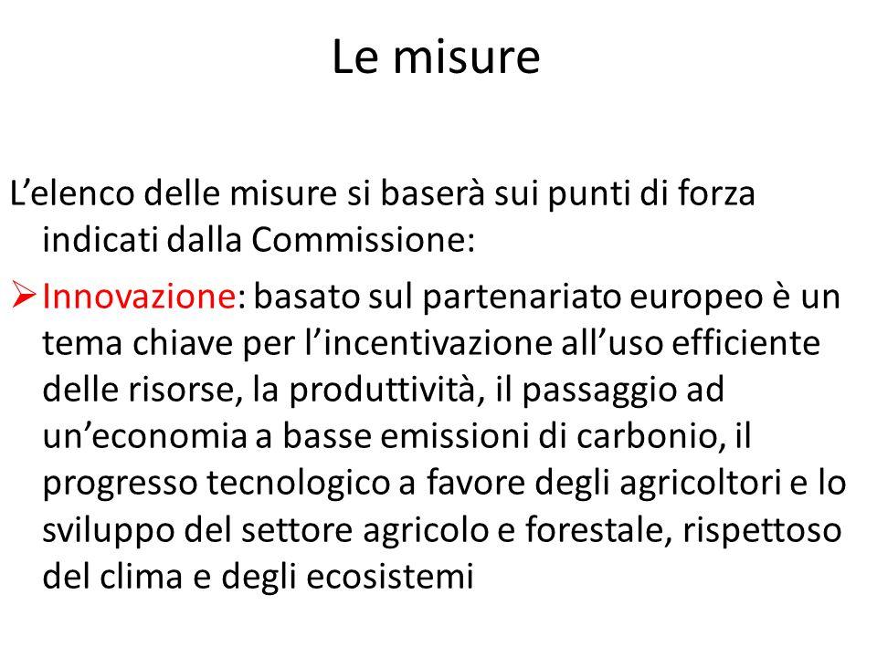 Le misure L'elenco delle misure si baserà sui punti di forza indicati dalla Commissione: