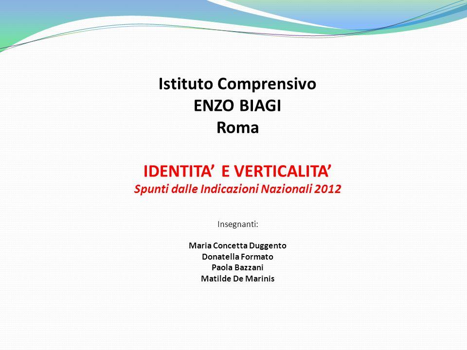 Istituto Comprensivo ENZO BIAGI Roma IDENTITA' E VERTICALITA'