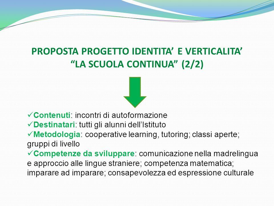 PROPOSTA PROGETTO IDENTITA' E VERTICALITA' LA SCUOLA CONTINUA (2/2)