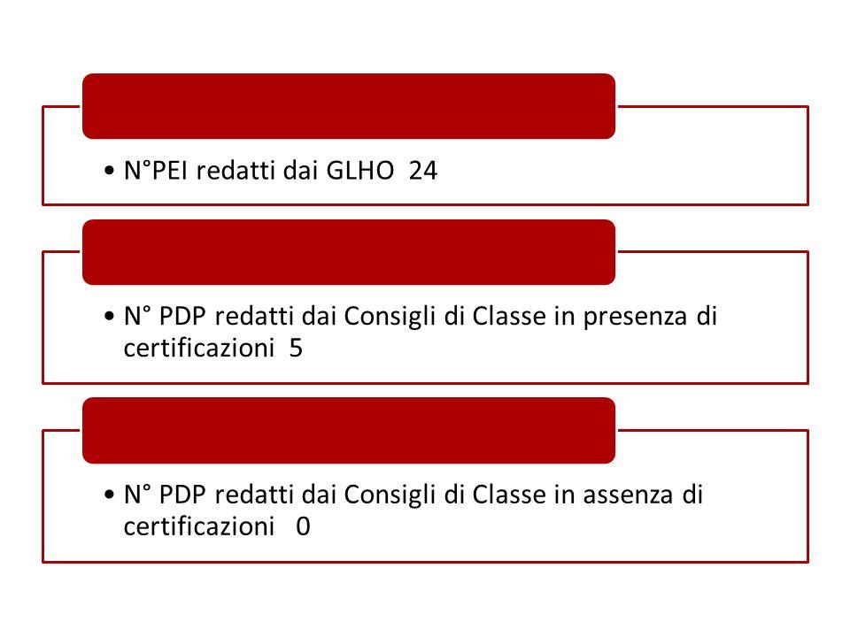 N°PEI redatti dai GLHO 24 N° PDP redatti dai Consigli di Classe in presenza di certificazioni 5.