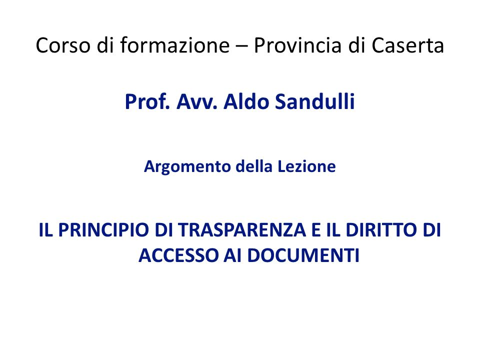 Corso di formazione – Provincia di Caserta
