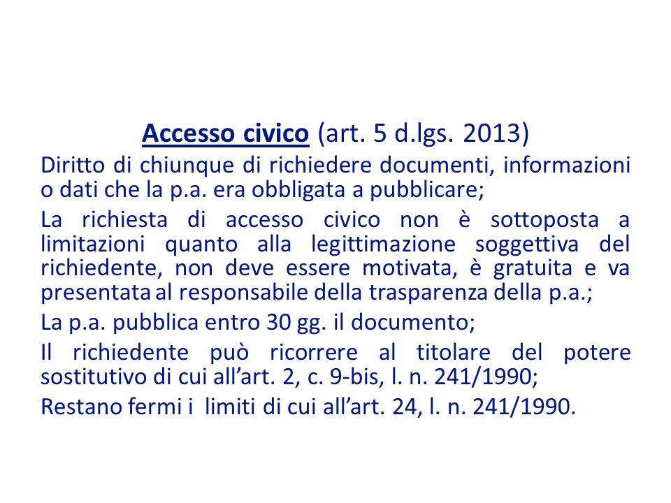 Accesso civico (art. 5 d.lgs. 2013)