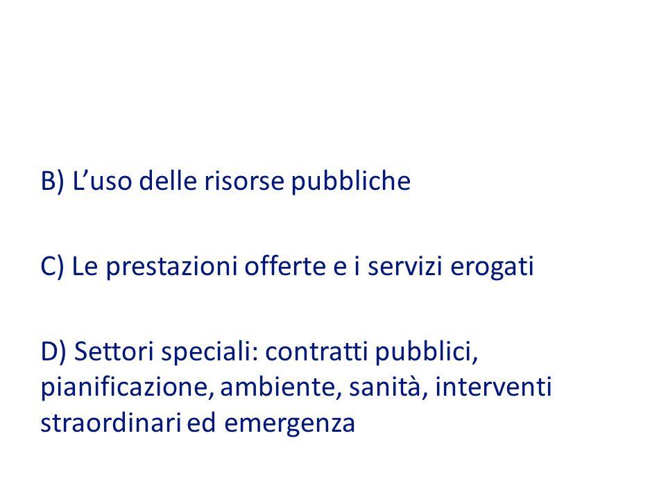 B) L'uso delle risorse pubbliche