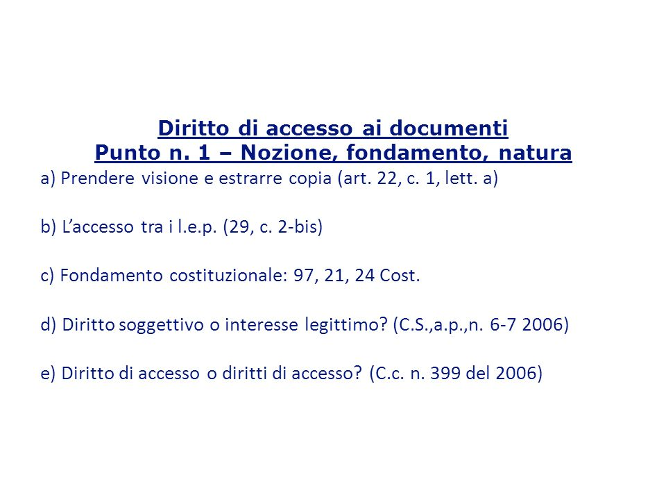 Diritto di accesso ai documenti Punto n