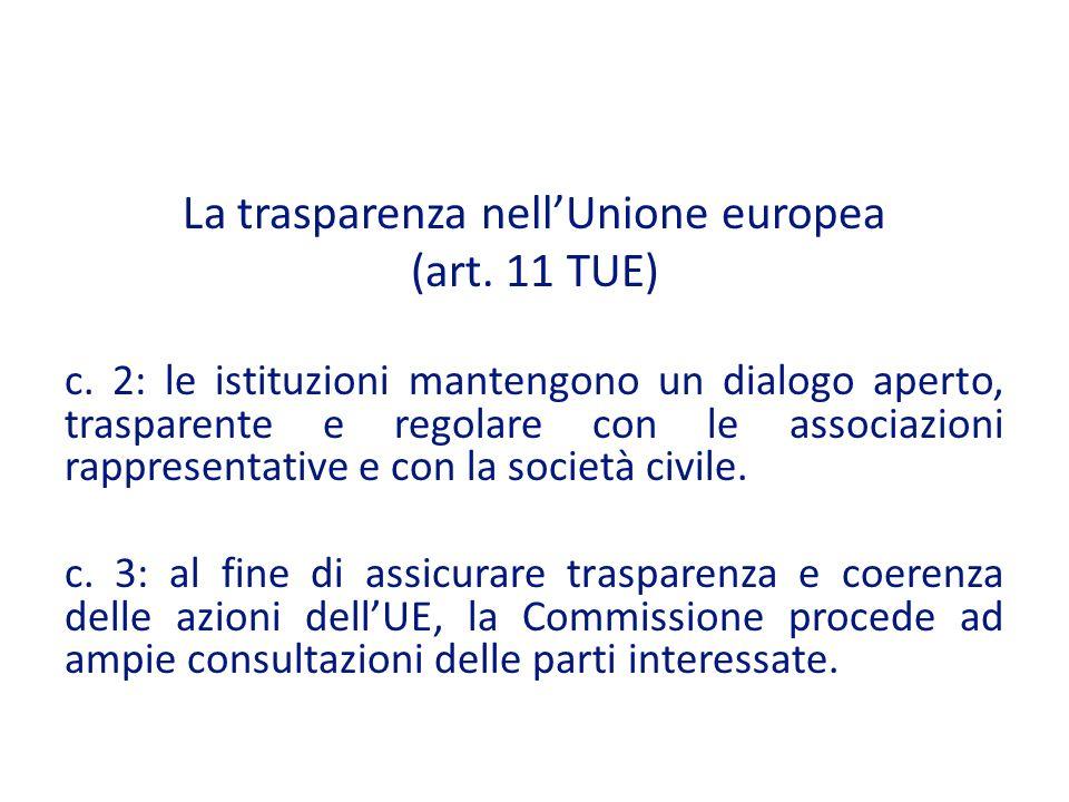 La trasparenza nell'Unione europea
