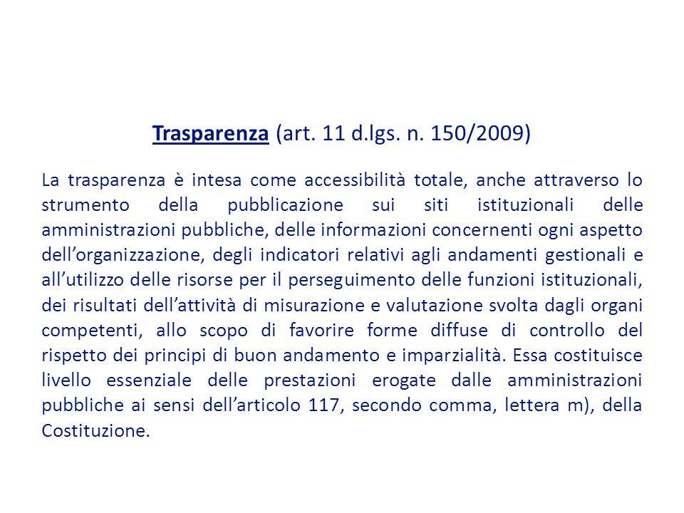 Trasparenza (art. 11 d.lgs. n. 150/2009)