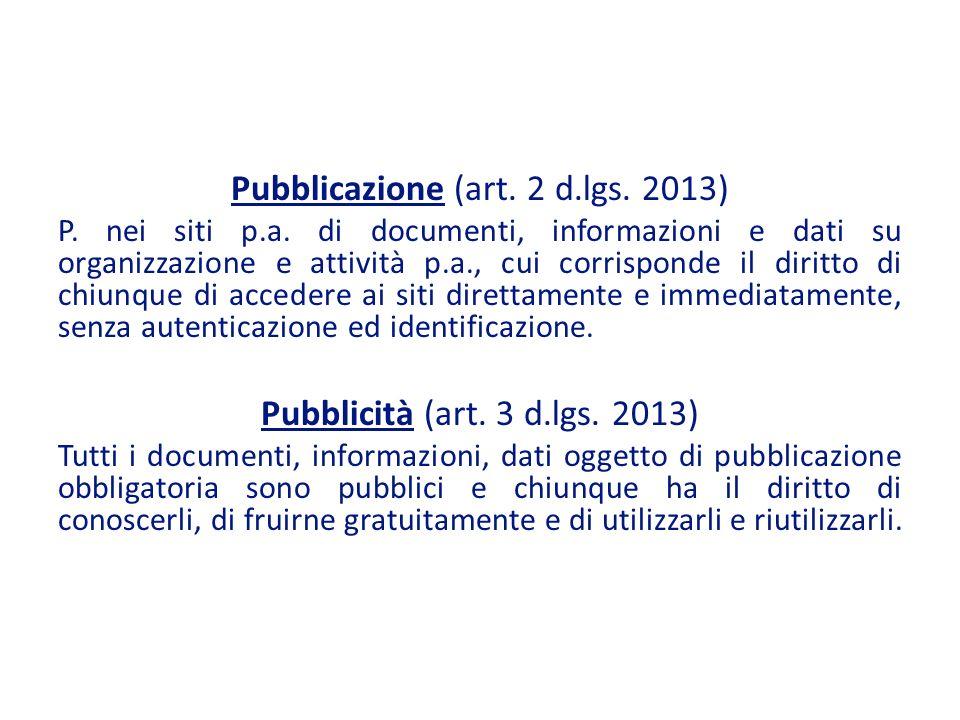 Pubblicazione (art. 2 d.lgs. 2013)