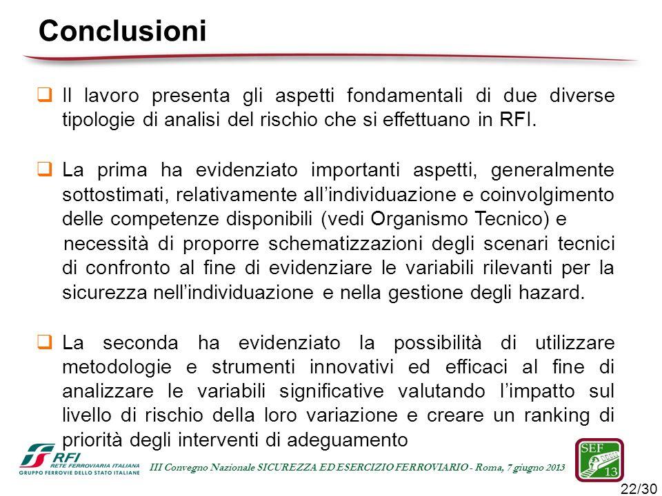 Conclusioni Il lavoro presenta gli aspetti fondamentali di due diverse tipologie di analisi del rischio che si effettuano in RFI.